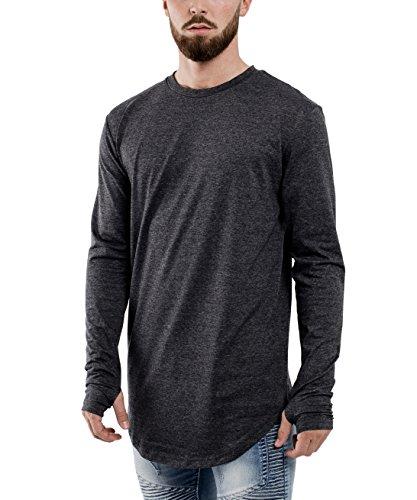 Phoenix Oversize Round Longsleeve T-Shirt Herren Langarm Longshirt Abgerundet Charcoal