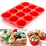 Kingko® Silicone Muffin Tray Baking Cupcake Tins Cake Cases Moulds Dishwasher and Microwave Safe (12 Cup, Red)