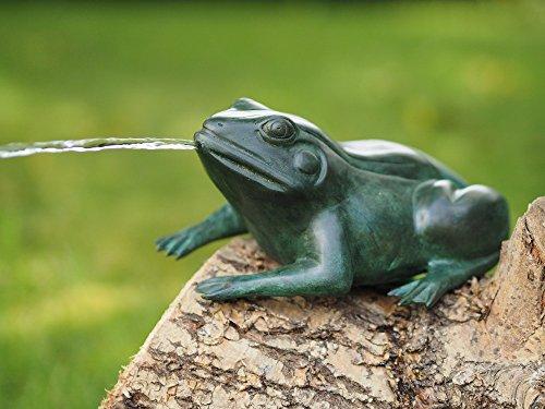 Thermobrass Bronzefigur Frosch mit Wasserspeier Teichfigur Teichdekoration Gartenfigur