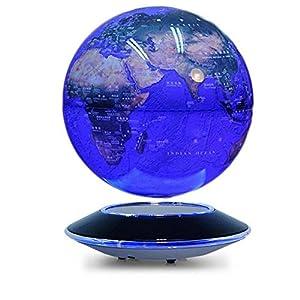 """Levitación magnética – Bola giratoria de 8 """"LED antigravedad iluminado Mapamundi Tierra para la decoración de escritorio del hogar de escritorio Educación para niños – (Rotación colorida)"""