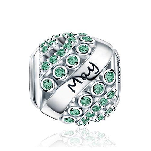 FOREVER QUEEN Mai Geburtsstein Charm Bead für Damen 925 Sterling Silber, zum Geburtstag, 12 Farben, Jan - Dez, Anhänger für Armband und Halskette FQ0004-5