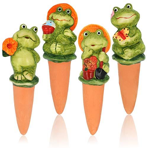 com-four® 4x Wasserspender aus Terrakotta - Keramikfiguren zur Bewässerung von Topfpflanzen - Bewässerungshilfe für Zimmerpflanzen (04 Stück - Frösche)