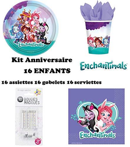 Kit Enchantimals 48 pièces 16 Enfants Anniversaire (16 Assiettes, 16 gobelets, 16 Serviettes + 10 Bougies Magiques) fête