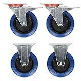 ECD Germany 4 Stück 75mm Transportrollen Set 2 Bockrollen + 2 Lenkrollen mit Bremse aus verzinktem Stahl und hochelastisches Gummi Blau Tragfähigkeit 100 kg/Rolle