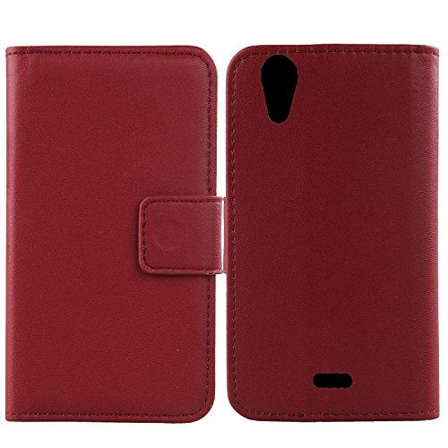 Gukas Design Echt Leder Tasche Für Wiko Rainbow Jam 4G Hülle Lederhülle Handyhülle Handy Flip Brieftasche mit Kartenfächer Schutz Protektiv Genuine Premium Case Cover Etui Skin (Dark Rot)
