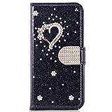 Miagon für Samsung Galaxy A50 Glitzer Brieftasche Hülle,3D Diamant PU Leder Case Kartenslots Ständer Strass Wallet Flip Cover,Herz Schwarz
