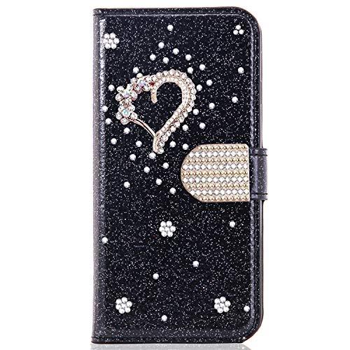 Miagon für Samsung Galaxy S7 Edge Glitzer Brieftasche Hülle,3D Diamant PU Leder Case Kartenslots Ständer Strass Wallet Flip Cover,Herz Schwarz