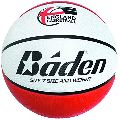 Baden England Deluxe - Pelota de baloncesto para niños (talla 5), color rojo y blanco