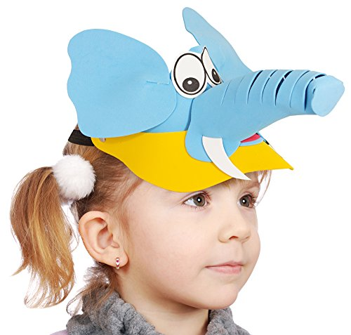 El Disfraz País - Sombrilla para niños - Divertido Cap Protección Solar Parasol Verano Juegos Piscina Cumpleaños - Varios Animales Elefante Talla única