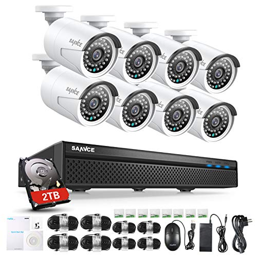 SANNCE POE Kit 8 Telecamere 5MP POE NVR 8 Canali 8 POE Camera Videosorveglianza 1080P Cloud Storage IP66 IR Telecamere Sorveglianza Allarm Visione Notturna 2TB HDD