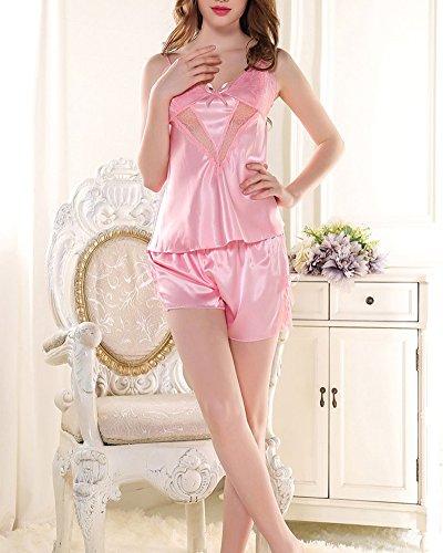 Ensemble Pyjama Nuisette Femme Satin Déshabillé en Babydoll Dentelle Chambre de Nuit pink