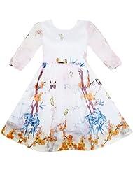 Sunny Fashion Robe Fille Papillon Élégant Chinois Prune Fleur Bambou 4-10 ans