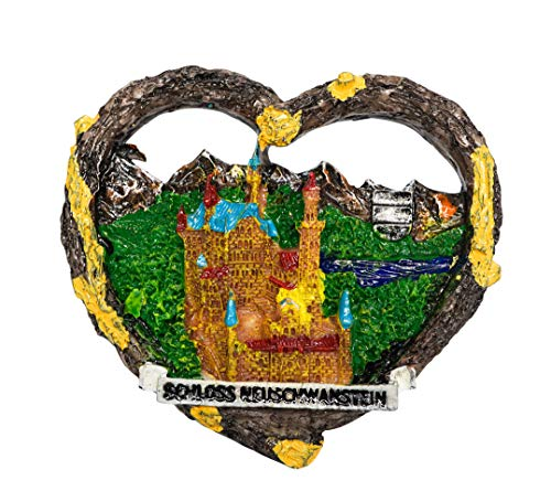 zamonji Schloss Neuschwanstein, Bayern 3D Hochwertigem Harz Kühlschrankmagnete Küchen-Magnet Heimdeko Urlaubs-Souvenir, Geschenk aus Deutschland (Kuchen Urlaub)
