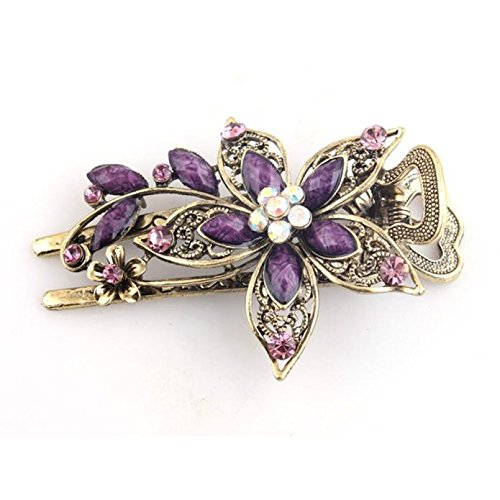 Malloom for Hair Clip Tools Women Vintage Jewelry Crystal Hair Clips Hairpins (Purple)