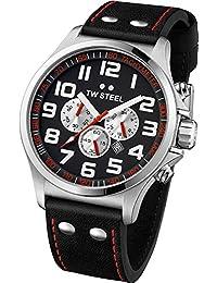 TW Steel Unisex Armbanduhr Pilot Chronograph Leder schwarz TW414