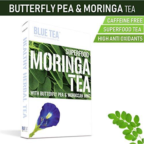BLUE TEA – Moringa Mint | 24 Cups – 12 Tea Bags | Caffeine Free | Butterfly Pea Herbal Tea – Superfood Tea – Weight Loss Tea (24 Cups – 12 Teabags)
