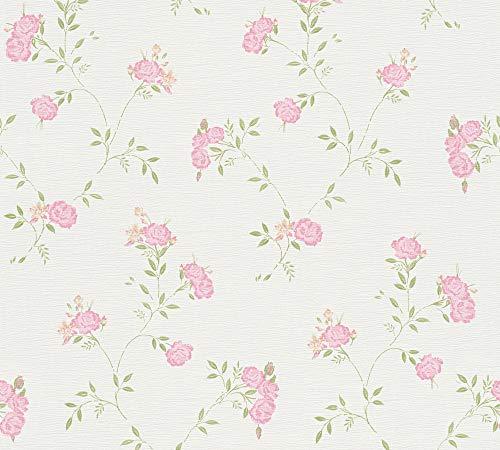 A.S. Création Vliestapete Liberté Tapete Landhaus Shabby Chic 10,05 m x 0,53 m grün rosa weiß Made in Germany 305221 30522-1