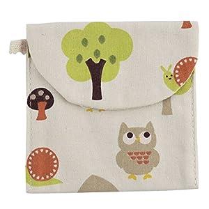 sourcingmap® Linen Square Shape Tree Owl Snail Pattern Sanitary Towel Napkin Pad Bag