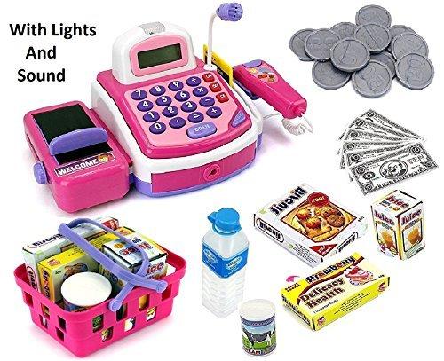 Caja Registradora Electrónica de Juguete Prextex con Dinero de Mentira y Micrófono y Altavoz Incluidos para Juego de Simulación Niños