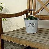 Zink Eimer Flowers & Garden mit Henkel und Holzgriff - Blumentopf - Kräutertopf - Metall Eimer - Gartendeko - 3 Stück im Set - 16 x 15 x 12 cm A 11783