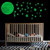 Glow In The Dark Moon & Stars Wall Stickers   Assorted Pack of 385 Self Adhesive Wall Vinyls   Glowing Ceiling Stickers Ideal for Children