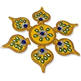 Handmade Elegantly Designed Yellow Rangoli - With Round Shaped Base And Leaf Shape Design Decorated With Multicolour Stones - 7 Pieces Set
