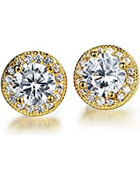 Yellow Chimes Crystals From Swarovski White Sparkling Crystal Golden Studs Earrings For Women & Girls