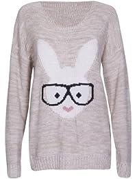 Damen Langärmlig Häschen Brillen Druck Damen Rund U-ausschnitt Gestrickt Stretch Pullover Pulli Top