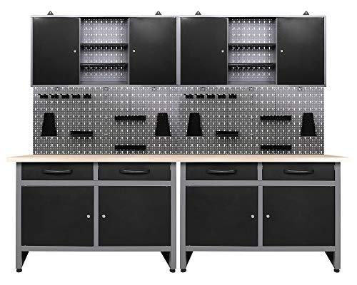 Ondis24 Werkstatteinrichtung 6-teilig Werkbank Werkzeugschrank Werkzeugwand/Lochwand mit Haken