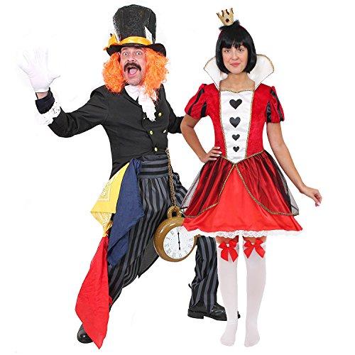 Königin Herzen Halloween Kostüm Der - ILOVEFANCYDRESS MAD Hatter+KÖNIGIN DER Herzen Paar=KOSTÜM VERKLEIDUNG= DAS PERFEKTE Paar FÜR BUCHWOCHE Fasching UND Karneval Halloween=Mann-XXLarge+Frau-XLarge