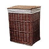 Fodera di Tela da imballaggio in Cotone Cestino da bucato in Rattan con Cesto portabiancheria Sporca (Colore : Brown, Dimensioni : 37 * 27 * 45cm)