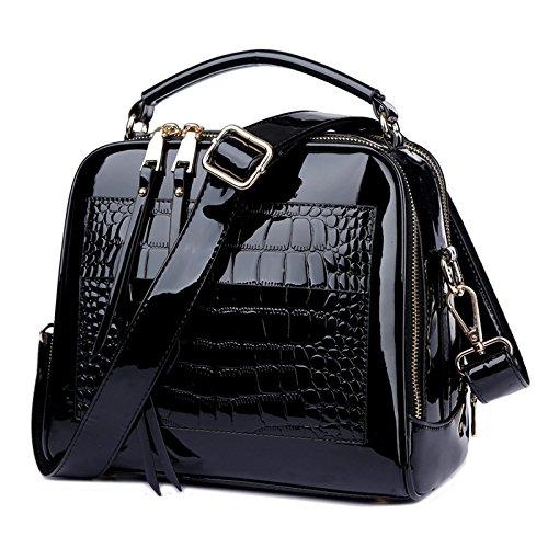 AASSDDFF Neue Mode Frauen Krokodil Muster Handtaschen Damen Handtaschen Schulter Messenger Bags Umhängetasche für Mädchen, Schwarz (Braune Krokodil Neue)
