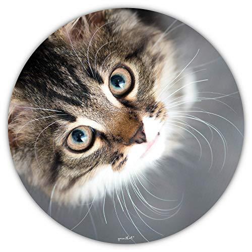 Mauspad mit Katzen-Motiv I Ø 22 cm rund I Mousepad in Standard-Größe, rutschfest I für Mädchen Teenager Frauen I Katzenblick I dv_421