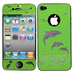 2 in 1 (Front Screen + Back Cover) 3D Dolphin Pattern Screen Protector for iPhone 4 4S (Green)