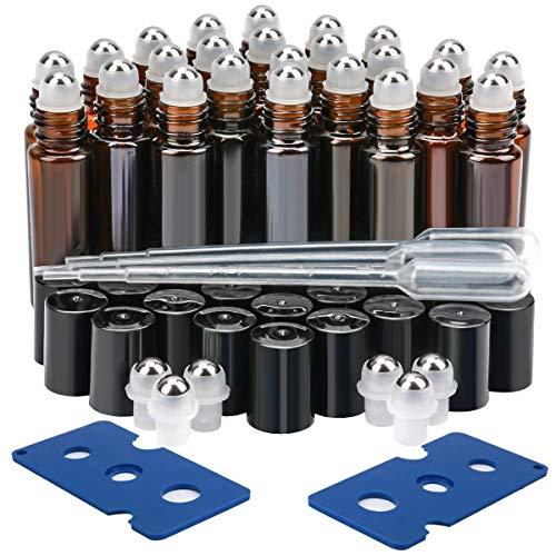EEIEER Amber Glasflaschen für ätherische Öle,24 Pack 10 ml Glas Roll-On Bottle Braun mit Edelstahl-Roller Flaschenöffner und Pipetten