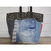 Sac à main fait main,Sac à main patchwork, sac cabas en coton et jeans recyclé - 30 x 44 x 20 cm, Cadeaux anniversaires, cadeaux Noël, cadeaux maman, st Valentin, mariage, cadeaux maitresses