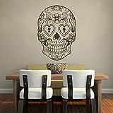Pegatinas de pared, de vinilo, diseño de: diseño de calavera, decoración de la pared mexicano, vinilo, marrón oscuro, 33 hx48 w