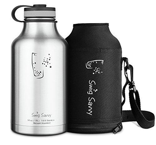 SWIG SAVVY Isolierte Wasserflasche und Bier Growler 64 Unzen, schwarzer Edelstahl (64-unzen-becher)
