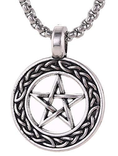 Missoul Stainless Steel Pentacle Hollow Round Necklaces Fashion Punk Hiphop Jewelry Chain Pendant for Men Teens Friendship -