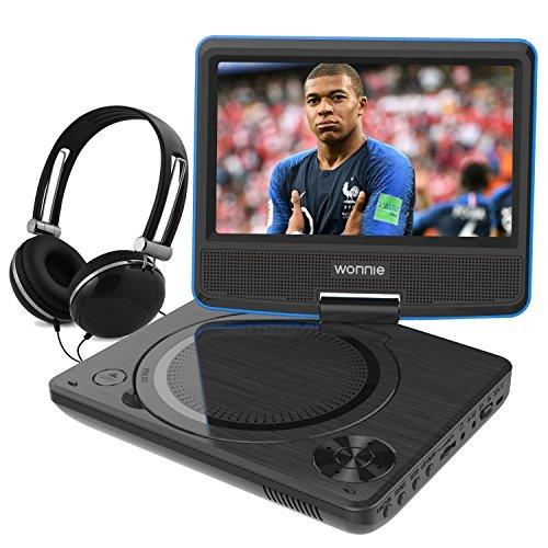 WONNIE 10,5' Lecteur DVD Portable avec Un Écran Rotatif 270°, Carte SD et Prise USB avec Charge directe...