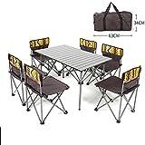 Rziioo Klappbarer Campingtisch aus Aluminium mit 6 Stühlen und Tragetasche Für Picknick Im Innen- und Außenbereich