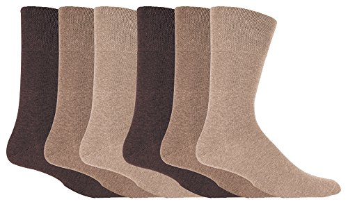 IOMI - 6 pares hombre sin elasticos diabeticos calcetines para la circulacion (39-45 eur, Beige)