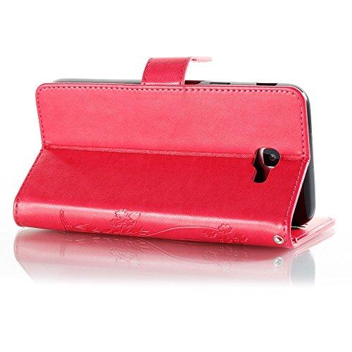 EKINHUI Case Cover Horizontale Folio Flip Stand Muster PU Leder Geldbörse Tasche Tasche mit geprägten Blumen & Lanyard & Card Slots für Samsung Galaxy J5 Prime ( Color : Rose ) Rose