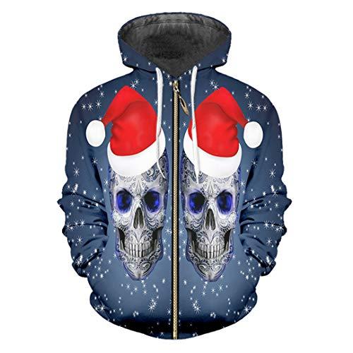 TN-KENSLY 3D Printed Christmas Cap und Schädel Lovely Men's Coat Lustige Hoodies Christmas Cap Skull XXL (Xxl-skull-cap)