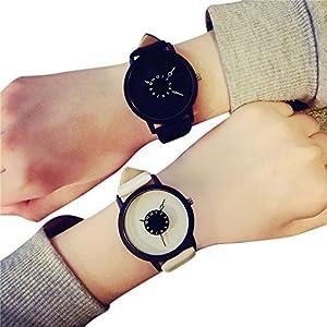 Mode Beiläufig Liebhaber Uhren Lederband Quarz Analoge Süß Armbanduhr für Damen Herren Uhr Groveerble