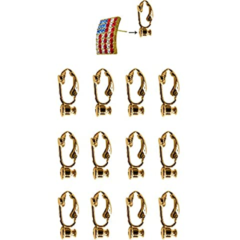 Evelots 12 pièces Convertisseur de clip sur les boucles d'oreilles à, en or