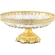 Cristal bandeja de cuenco de compota centro de mesa decorativo plato redondo (10pulgadas, con base de oro pedestal jarrón bodas partes de mesa soporte para tartas postres frutas ensalada Candy