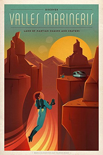 SpaceX Mars Tourism Poster For Valles Marineris - Extra Large - Archival Matte - Black Frame