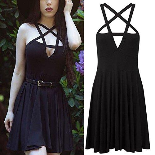 Mode-Frauen-Kleid Gothic Vintage romantisches beil?ufiges Kleid ohne Gurt
