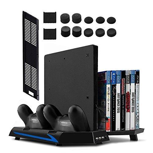 Younik PS4/PS4 Slim vertikaler Ständer mit eingebautem Lüfter, Dual Controller Ladestation, 14...